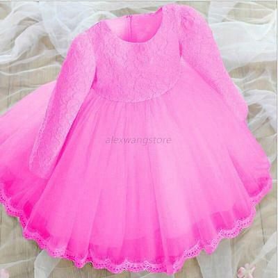 Flower Baby Kids Girls Long Sleeve Dress Pageant Wedding Party Dresses 0-6 Years