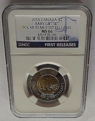 2015 Canada Ngc First Releases Ms66 Baby Gift Set-Polar Bear $2 Toonie! Rare!