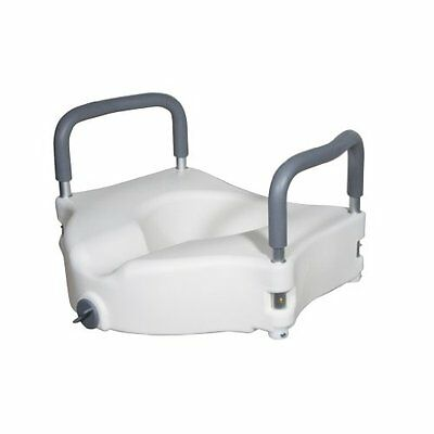 Drive Medical Elevated Raised Toilet Seat with Removable Padded Arms, Standard