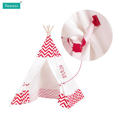 Kids Tipi Teepee Play Tent Play House Outdoor or Indoor Red Strip Tent  CA STOCK