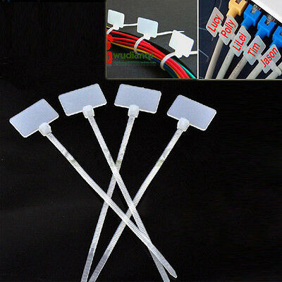 Write On Ethernet RJ45 RJ12 Zip Ties Wire Power Cable Label Mark Tag 100Pcs