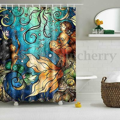 Fabric Waterproof Bathroom Mermaid Shower Curtain Panel Sheer Decor 12 Hooks Set