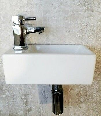 Small Compact Bathroom Cloakroom Basin Sink Wall Hung White Left Hand Tap Hole