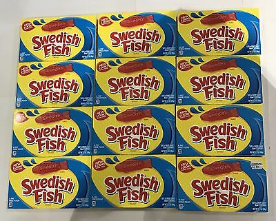 909865 BOX OF 12 x 88g PACKETS OF SWEDISH FISH - SOFT & CHEWY CANDY! - CANADA