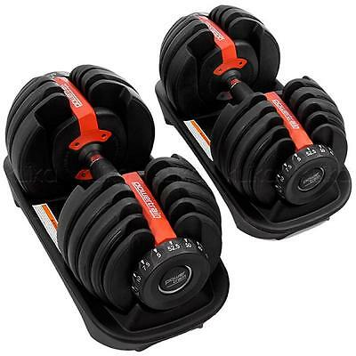 2 X 24KG Pair Dumbbell Weight Plate Set Fitness Home Gym Exercise Adjustable