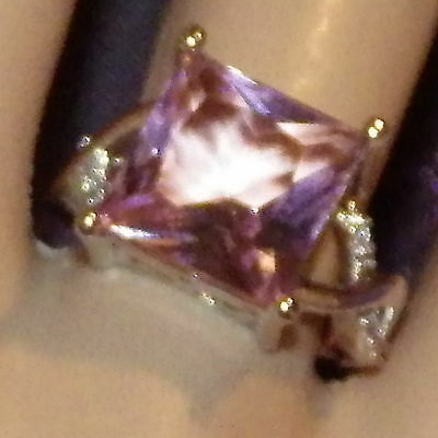 New Womens 925 Sterling Silver Filled Statement Rings Square Pink Cubic Zirconia