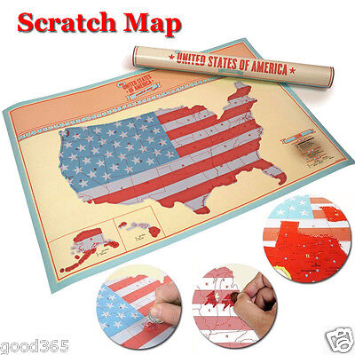 Personalized Scratch Off Us Map United States USA America Poster Silver Travel