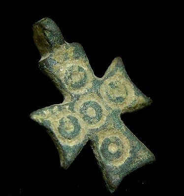 Rare Ancient Byzantine Period Bronze Pendant Cross Israel 4th - 7th Century