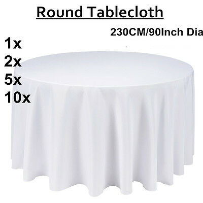 Tablecloth Round Table Cloth Wedding Party Banquet Event 1/2/5/10Pcs 230CM