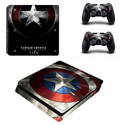 Captain America Vinyl Skin Sticker for Sony PS4 Slim Console & 2 Controllers