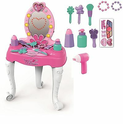 Princess Girls Glamour Mirror Dressing Table Pretend Play Set with Light Music
