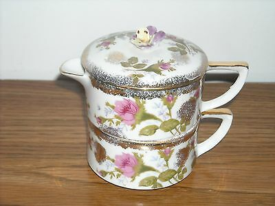 Vintage Mini China Tea Pot and Cup Pink, Purple, Yellow Floral with Gold Trim