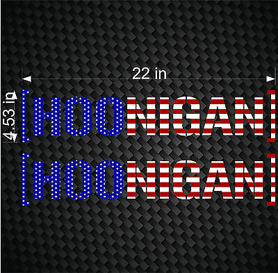"2- 22"" HOONIGAN FLAG Ken Block Hater Car Window Decals JDM Euro Banner Stickers"