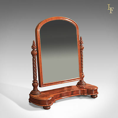 Antique Vanity Mirror, Regency Dressing Table, English, Flame Mahogany c.1820