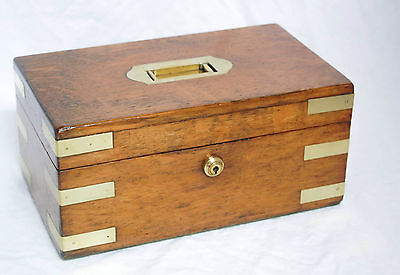 Victorian Oak & Brass Military Campaign Box With Bramah Lock & Key