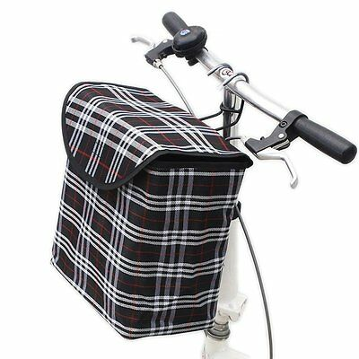 Front Handlebar Bicycle Portable  Fold-up Metal Canvas Bike Basket with Hook