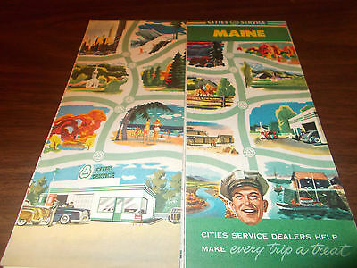 1940s Cities Service Maine Vintage Road Map