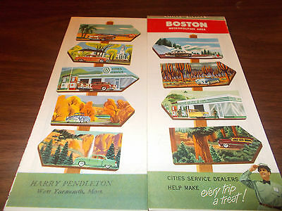 1954 Cities Service Boston Vintage Road Map
