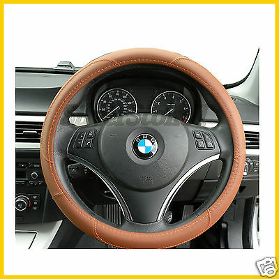 Steering Wheel Cover Quality Faux Leather Brown