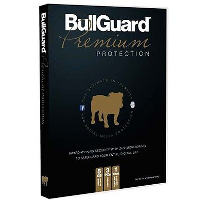 New Bullguard Premium PC Protection 5GB Back Up 1 Year Subscription For 3 PCs