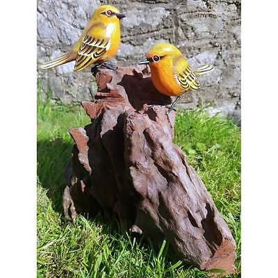 Fairtrade Solid Wooden Double Robin Bird on Root Statue