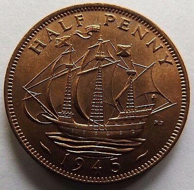 1945 Great Britain 1/2 Penny! Bu Red! Beauty! Wwii Era Coin!