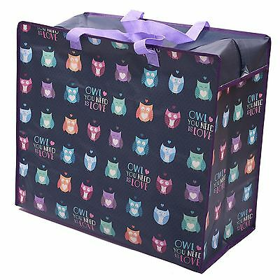 Owl You Need Is Love Design Storage Laundry Bag 48cm High Toys Clothes Zipped