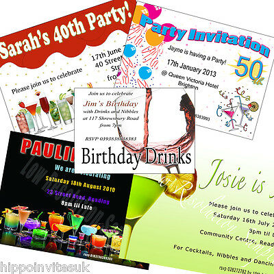 Personalised Cocktail Birthday Party Invitations Wine various + envs x 100
