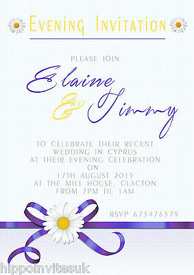 50 x Wedding Invitations Evening Day Daisy Ribbon + env Various Colours