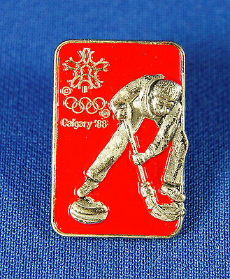 Curling 1988 Calgary Winter Olympic Pin Sponsor Shell Oil Issued