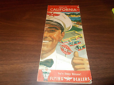 1954 Flying A California Vintage Road Map