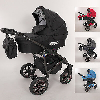 NEW Luxury Baby Pram Stroller Car seat - Pushchair - Buggy swivel wheels