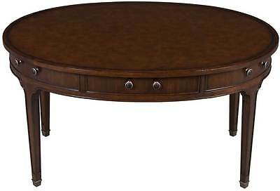 Hickory Chair Oval Desk with Brown Leather Top Drawers on Legs Table Library