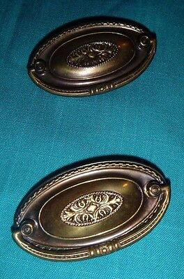 Two (2) USED Antique Stamped Brass Cast Bail Dresser Drawer Pull ~ F131