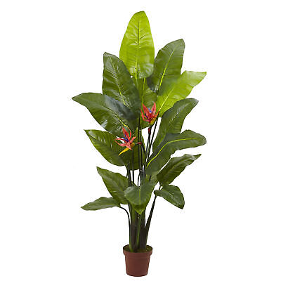 """4'10"""" Real Touch Bird of Paradise Flower Silk Palm Tree w/Pot"""