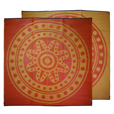 RECYCLED Outdoor Rug | ABORIGINAL Circle Time Design, 3m Square Yellow Orange