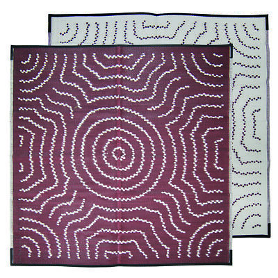 RECYCLED Plastic Mat Outdoor Rug | Square ABORIGINAL Design, Red White
