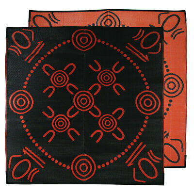 Plastic Outdoor Rug | ABORIGINAL Mat Gatherings Design | 1.8m x 18.m Square Oran
