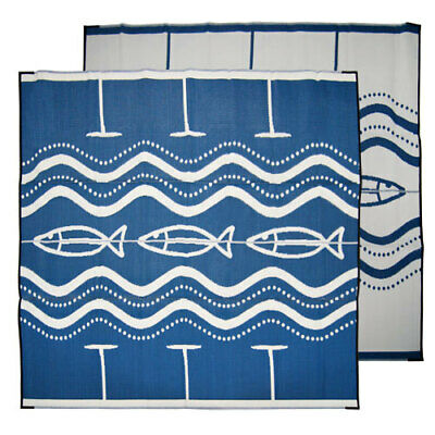 RECYCLED Plastic Outdoor Rug | ABORIGINAL Mat Fish Design 2.7m Square