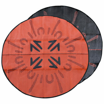 Outdoor Rug | Authentic ABORIGINAL Mat Design | 2.4m Round Black Orange