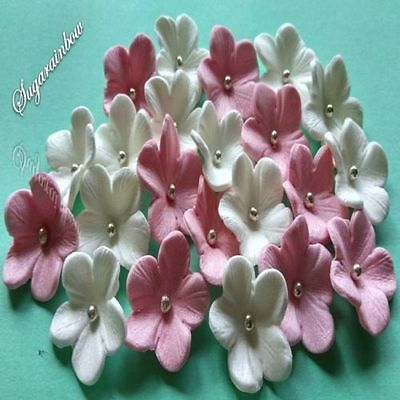 20 edible white sugar flowers cake cupcake toppers decorations WHITE/PINK