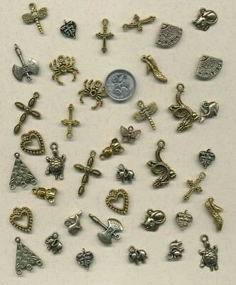 40 goldplated metal  charms  -VALUE!!