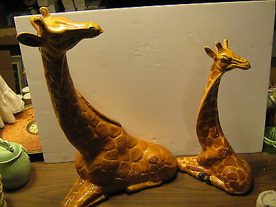 Pair of Giraffe Statues, large, Mother and Baby, Ceramic and signed by maker