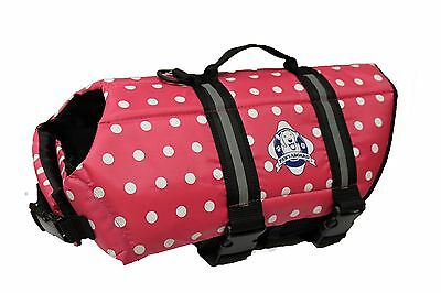 Paws Aboard PAWPP1400 Designer Doggy Life Jacket, Medium, Pink Polka Dot