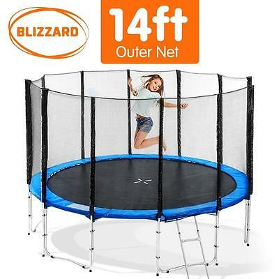 14FT Round Trampoline Safety Net Set Spring Padding Cover Mat Basketball Ladder