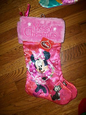 "Disney Minnie Mouse 20"" Pink Christmas Stocking NWT"
