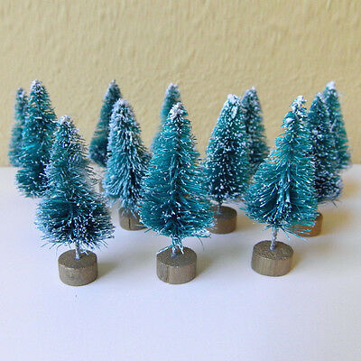 12pc Mini Cute Sisal Bottle Brush Christmas Trees Snow Frost Village Great Decor