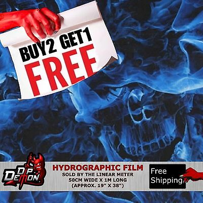 Lm Blue Flaming Skulls Hydrographic Water Transfer Film Hydro Dipping Dip Demon