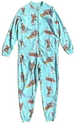 Nick & Nora Women's Sock Monkey Fleece One Piece Zip Front Pajamas Aqua