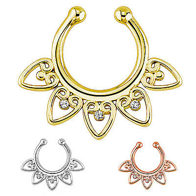 3 x Fake Non-Piercing Tribal Septum Nose Clip-On Ring Body Jewelry PK